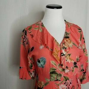 lola Dresses - Lola Made In Italy Coral Ruffled Floral Wrap Dress